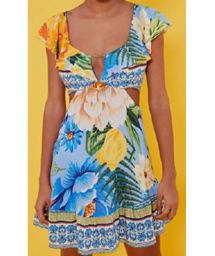 Floral beach dress with ruffeled neckline - VESTIDO CURTO BABADO CHITA