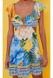 Floral beach dress with ruffeled neckline - VESTIDO CURTO BABADO CHITA