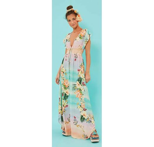e33a64253 Long Pastel Gradient Floral Beach Dress - Vestido Longo Horizonte Florido -  Farm