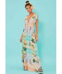 Long pastel gradient floral beach dress - VESTIDO LONGO HORIZONTE FLORIDO