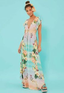 Long pastel gradient floral beach dress - VESTIDO LONGO HORIZONTE FLORIDO