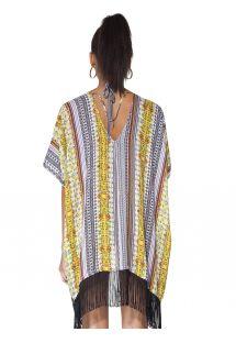 Kimono galben cu motive etnice și franjuri negre - KIMONO FRINGE ETHNIC