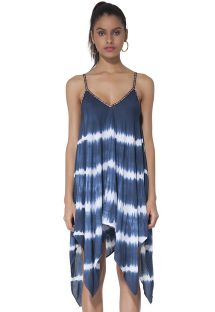 Tie dye blue swimming gown with colourful braid - PONTAS TIE DYE