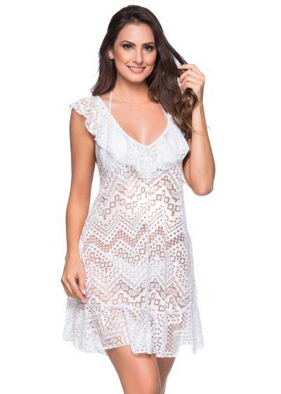 White beach dress with ruffles and openwork pattern - BABADO CROSSED BRANCO