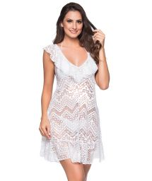 White beach dress with ruffles and openwork pattern - BABADO CROSSED BRANCO
