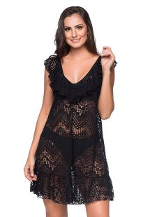 Пляжное платье чёрного цвета с воланами и ажурной отделкой- BABADO CROSSED PRETO