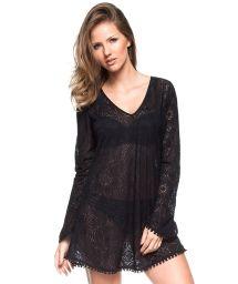 Black crochet beach dress with long sleeves - BORBOLETA PRETA
