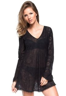 Black crochet beach dress with long sleeves - BORBOLETA PRETA