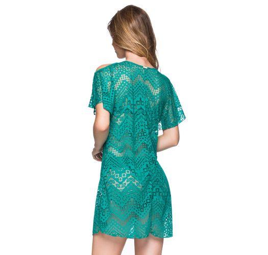 Grön strandklänning med spetseffekt, bara axlar - CAFTAN ARQUIPELAGO