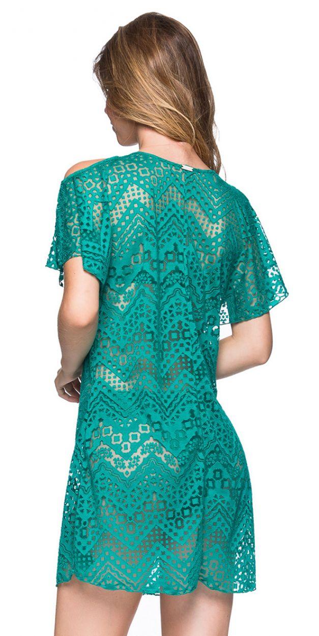 Green beach dress with bare shoulders - CAFTAN ARQUIPELAGO