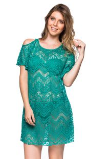 Green beach dress with bare shoulders - CAFTAN ARQUIPELAGO
