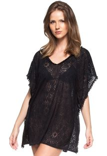 Black beach cover-up with border fringe and and openwork - CAFTAN DEVORE
