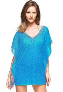Blue beach cover-up with pink pompons and openwork - CAFTAN HABANA