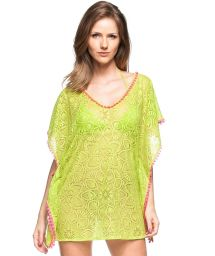 Lime green beach cover-up with pink pompons and openwork - CAFTAN MOJITO