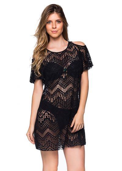 Strandklänning med svart spets effekt, bara axlar - CAFTAN PRETO