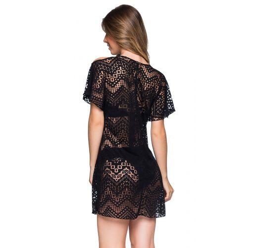 Black beach dress with bare shoulders - CAFTAN PRETO