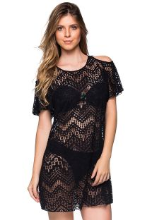 Black beach dress with bare shoulders - CAFTAN PRETO