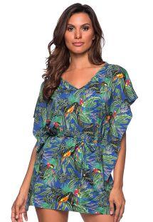 שמלת קפטן לחוף הים עם הדפס צבעוני - CAFTAN ROLETE ARARA AZUL