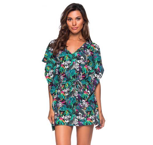 Colorful floral caftan style beach dress - CAFTAN ROLETE ATALAIA