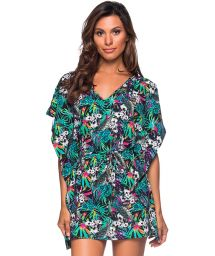 Colorful floral caftan style beach dress - CAFTAN ROLETE ATALAIA