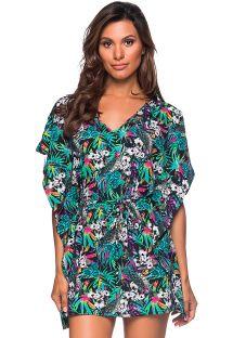 Платье-кафтан в стиле пляжного платья в разноцветный цветочный принт - CAFTAN ROLETE ATALAIA