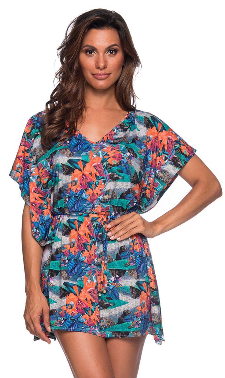 Пляжное платье-кафтан в тропический принт - CAFTAN ROLETE NORONHA FLORAL