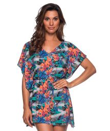 Tropical caftan beach dress - CAFTAN ROLETE NORONHA FLORAL