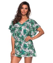 Caftan beach dress in green foliage - CAFTAN ROLETE VIUVINHA