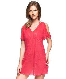 Deep pink cold-shoulder beach dress with open work - CARIBE DA ASIA