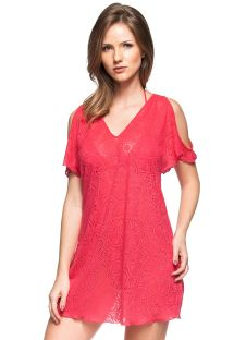 Deep pink cold-shoulder beach dress with open work - CARIBE DA ASIA