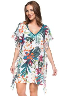 White tropical printed loose beach dress - CARIBE VENEZUELANO