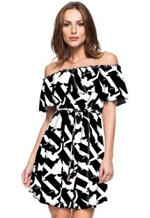 Black and white Bardot off shoulder dress - CHAPADA DIAMANTINA