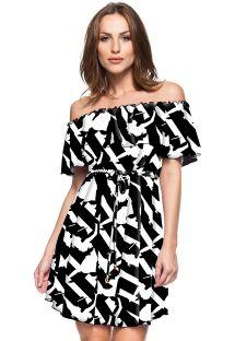 Εμπριμέ φόρεμα παραλίας με ασπρόμαυρα, εμπριμέ μοτίβα και λαιμό σε στυλ «Μπαρντό» - CHAPADA DIAMANTINA