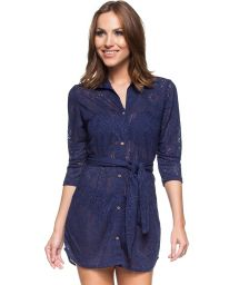 Navy blue crochet shirty beach dress - CHEMISE ALECRIM