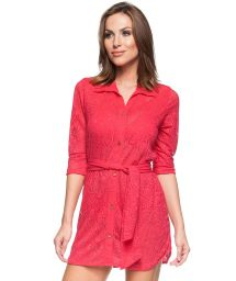 Red shirty long sleeve beach dress - CHEMISE JAMBO