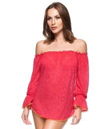 Red crochet beach cover-up Bardot neckline - CIGANINHA GROSELHA