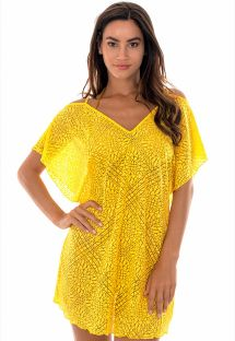 Yellow openwork beach dress with arabesque pattern - DECOTE CARAMBOLA