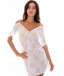 White openwork beach dress with arabesque pattern - DECOTE COSTAS BRANCO