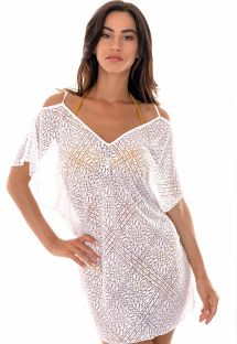 White openwork beach dress with arabesque pattern - DECOTE COSTAS BRANCO