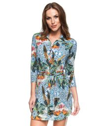 3/4 sleeve printed shirt dress - DIA DE VERAO