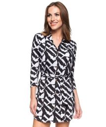 Black/white two-tone printed shirt dress - FAMOSA RIVIERA