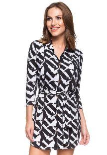 Vestido camisa c/ padrão bicolor preto/branco - FAMOSA RIVIERA