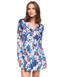 Floral blue long sleeve beach dress - FLOR BRANCA