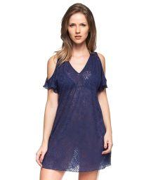 Navy blue crochet beach dress off shoulder - FLOR DA PRAIA
