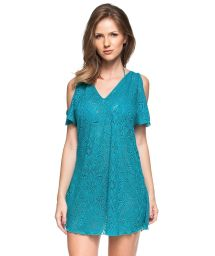 Turquoise mini off shoulder beach dress - FLOR DE OUTONO