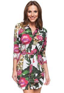Короткое пляжное платье с цветочным принтом - ILHA DA ALEGRIA