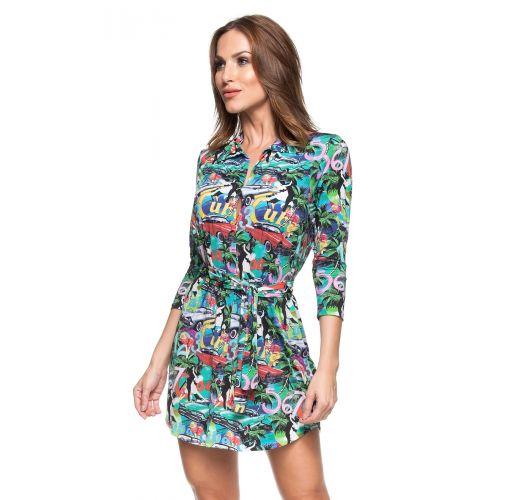 Colourful Cubaprinted shirt dress - ILHA DA FANTASIA