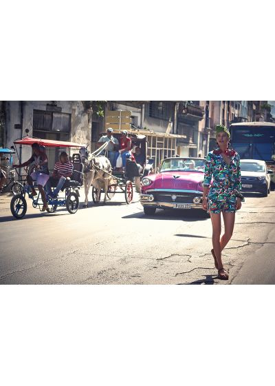 Farbenfrohes Shirt-Kleid mit Kuba-Print - ILHA DA FANTASIA