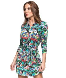 Colourful Cuba printed shirt dress - ILHA DA FANTASIA