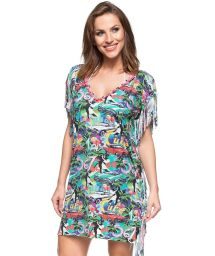 Разноцветное платье-кафтан с бахромой в принт Куба - ILHA DE MARAJO